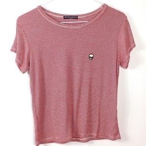 Brandy Melville red and white striped top